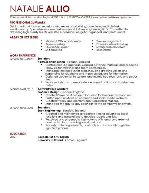 Secretary Admin Assistant Cv Template Cv Samples Examples Cv Template Resume Templates Job Resume Examples