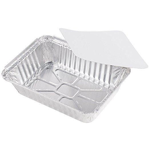 50 Pack Heavy Duty Disposable Aluminum Oblong Foil Pans With Lid