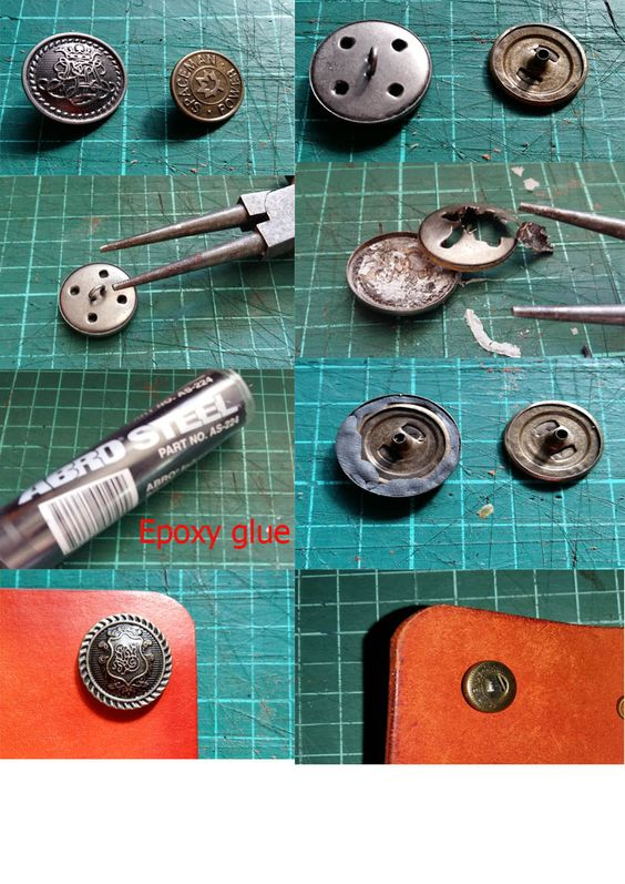 DIY antic buttons for leather bag