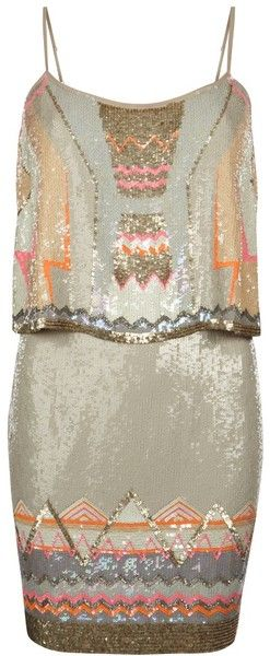 Allsaints Chan  ~  Gold Chan Vest Dress  ~  All over, delicately hand embellished vest dress w/ a geometric, art deco-inspired layout, adjustable straps w/ signature rusty hardware & double layer shape for a flattering silhouette. The Chan vest dress features multi-colored & metallic sequins & bead detail w/ highlights of fluorescent pink & orange. This style comes with a calico dust bag.