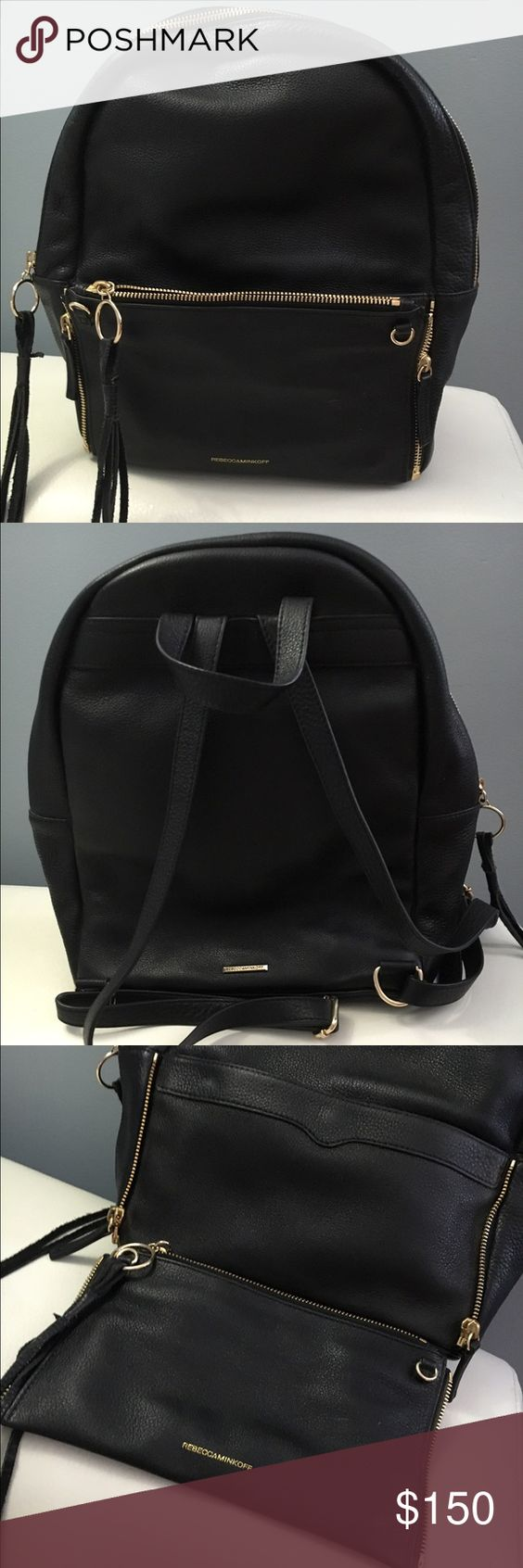 Rebecca Minkoff backpack Black on gold Backpack comes with detachable clutch, in good condition. Rebecca Minkoff Bags Backpacks