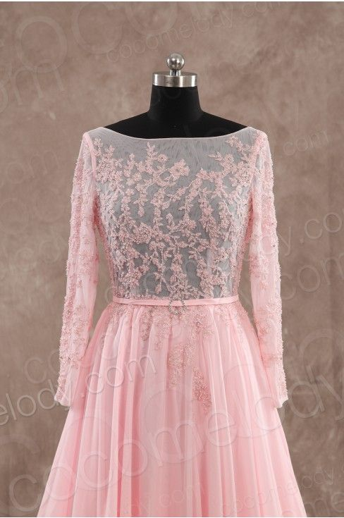 Romantic Sheath-Column Bateau Natural Train Chiffon Pink Long Sleeve Open Back Evening Dress with Appliques PR3147 - Special Occasion Dresses #cocomelody