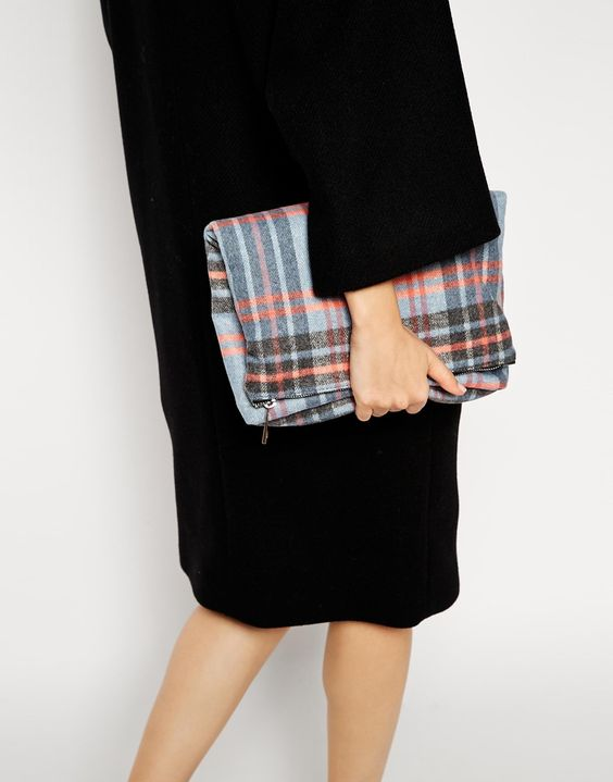 Image 3 of ASOS Brushed Check Fold Over Clutch Bag