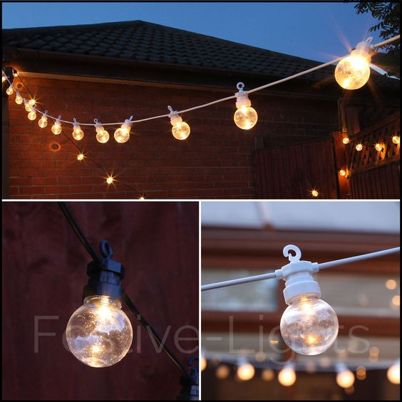 20 WARM WHITE CLEAR LED FESTOON STRING LIGHTS OUTDOOR GARDEN PARTY WEDDING 8M
