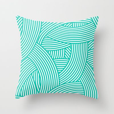 New Weave in Aqua Teal Throw Pillow by House Of Jennifer - $20.00