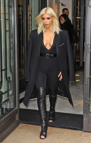 Kim Kardashian wearing Givenchy Spring 2015 Narlia Over-the-Knee