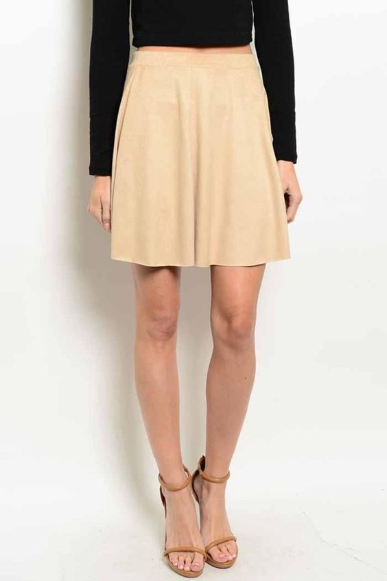 This high waisted suede skirt features an a-line silhouette. Perfect with heels or flats for a casual vibe.   Basic Tan Skirt  by Ambiance. Clothing - Skirts - Knee Vermont