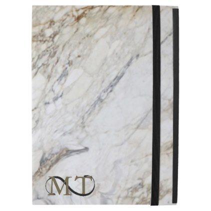 #monogrammed - #Stone Monogram Marble B&W ID316 iPad Pro Case