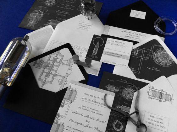 Tesla Wedding Invitation Suite par AthenaNAphrodite sur Etsy