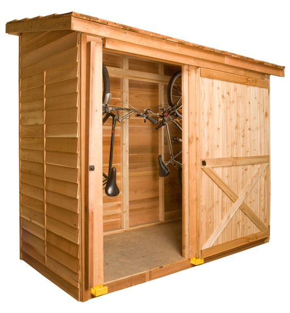 The Bayside shed makes great storage for 2 bicycles and fits in small spaces. cedarshed.com