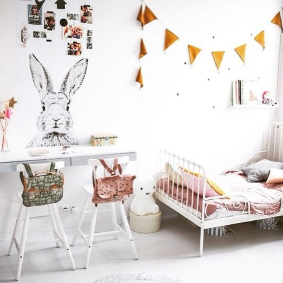 Childrens room with a cute rabbit: a stylish magnet board on the wall.(Instagram)