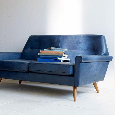 Modern Loveseats Settees West Elm Blue Leather Sofa Leather
