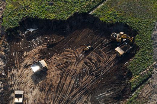 Tar Sands Art: Eco art photograph about  Alberta Tar Sands Mining. Tar Sands in progress