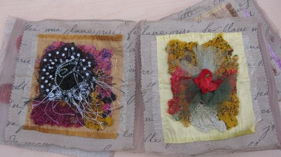 """Two pages from """"Fleur Fabrique"""" fabric book. Silks, ribbon, and other embellishments by L. Ramke"""