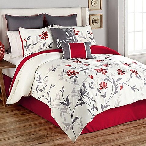 Sheila 8 Piece Queen Comforter Set In Red Bedroom Comforter Sets Comforter Sets Bedroom Red