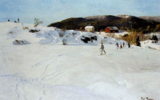 Frits Thaulow (1847 -1906) was a Norwegian impressionist painter, famous for his naturalistic characterizations of landscapes. Skiers, 1886