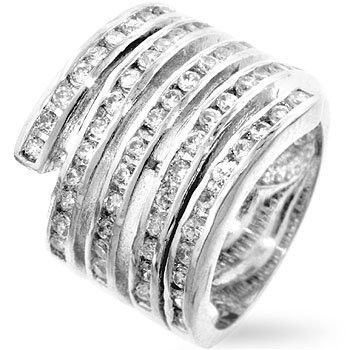 Genuine Rhodium Plated Six-Coil Snake Ring with Channel Set Cubic Zirconia Polished into a Lustrous Silvertone Finish