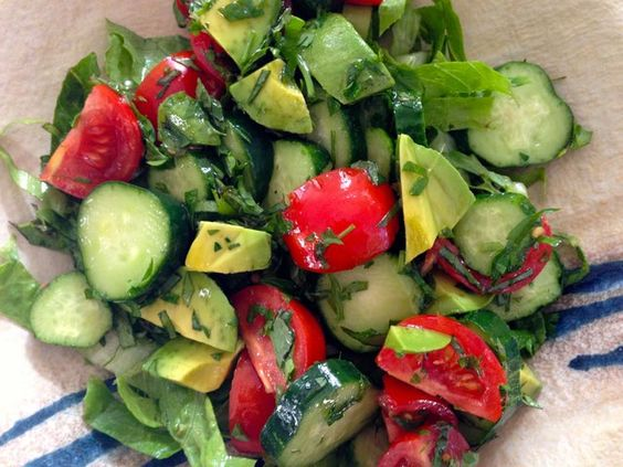 Crunchy Cool and Creamy Cucumber, Tomato and Avocado Salad. Cucumbers ...