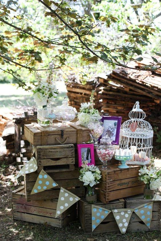 howne blog déco thème mariage champêtre rustique boho bohème jolie déco de mariage candy bar bar a bonbon déco diy 19