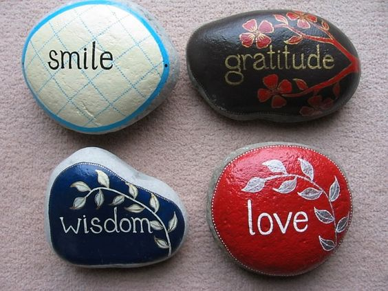 one word + one stone + paint = lovely idea ...so pretty...good thinking stone for kids to take to time out to remember why they are there...unless they decide to throw them :-( well the idea has some potential