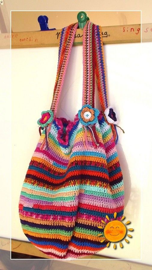 Striped Bag. There isn't a pattern but looks like simple dc in the round.  I pinned it for the brilliant color combinations and I do love DK cotton yarn! The colors of this bag are just amazing!: Crochet Bags, Bags Crochet, Bags Purses, Bags Baskets, Bags Bags, Craft Ideas, Bags Totes, Baskets Bags