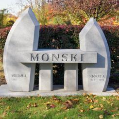 Bench memorial for the Monski family