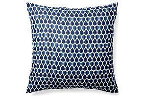 One Kings Lane - Go Bold - Delano 20x20 Cotton Pillow, Blue