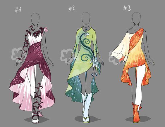 Fantasy Dresses - Auctions open by Nahemii-san.deviantart.com on @DeviantArt
