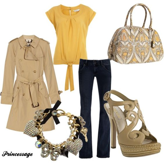 love the neutral colors!  Springy, created by princessage.polyv...: Neutral Colors, Burberry Coat, Springy Created, Outfit Style, Colors Springy, My Style, Style Fashion, Springy Colors