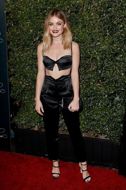 """What Everyone Wore To The Pretty Little Liars Wrap Party #refinery29  http://www.refinery29.com/2016/10/128081/pretty-little-liars-wrap-party-fashion#slide-1  Lucy Hale A newly blonde Aria went goth for the party in a Jeremy Scott two-piece and some strappy heels. Or, as Hale would explain on Instagram, """"Wrap party situation with Halloween vibes...."""