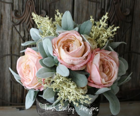 Blush Cabbage Rose & Lambs Ear Wedding by FloralDesignsbyTrish