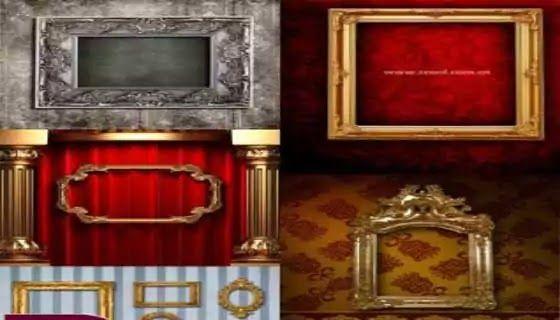 خلفيات Psd براويز واطارات لتصميمات الصور الشخصية وتصميمات الاستوديوهات بأشكال وألوان مختلفة للفوتوشوب Frame Photoshop Decor