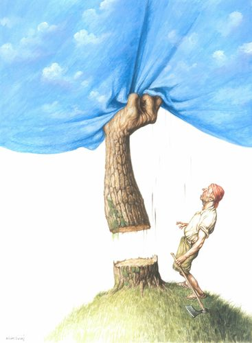Cartoon: Man and Nature (medium) by Agim Sulaj tagged man,nature: