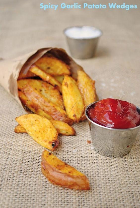 spicy garlic potato wedges #brilliant