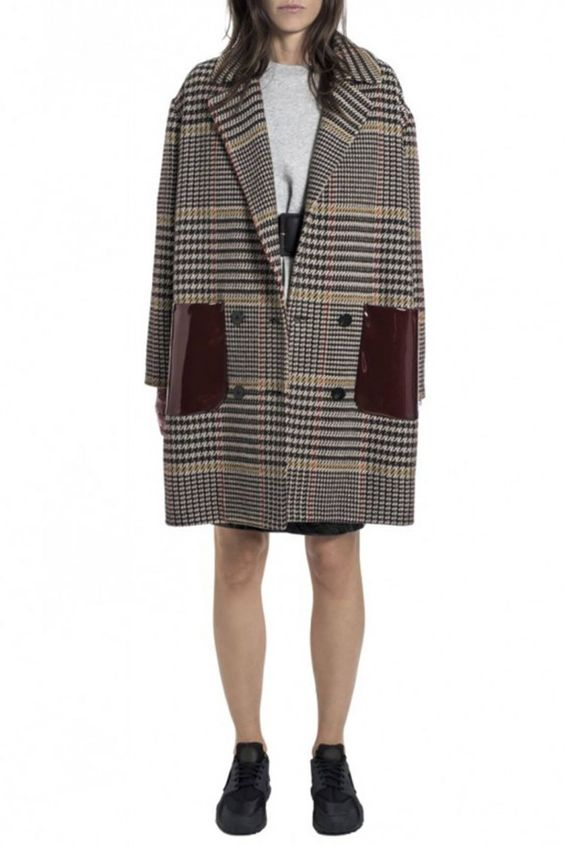Wool and Cashmere Tartan Oversize Coat with Vinyl Pockets by Wanda Nylon - Shop it here : Precouture.com