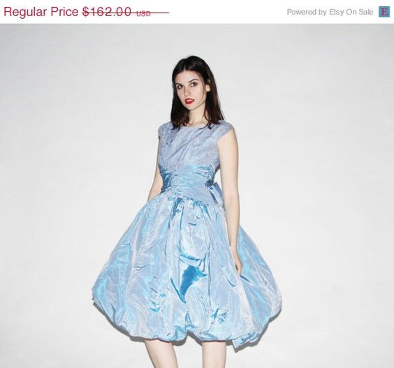 On SALE 25% Off Vintage 1950s Dress - 50s Blue Prom  Dress - The Blowing Bubbles Dress - 10019 by aiseirigh on Etsy https://www.etsy.com/listing/230361483/on-sale-25-off-vintage-1950s-dress-50s