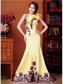 Incredible One-Shoulder Lace-Up Long Evening Dress