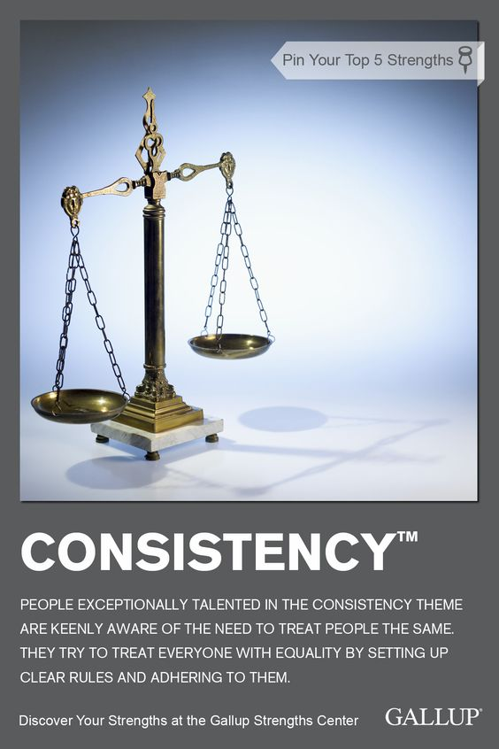 An awareness of the need to treat people the same is key to the Consistency strength. Discover your strengths at Gallup Strengths Center. www.gallupstrengthscenter.com