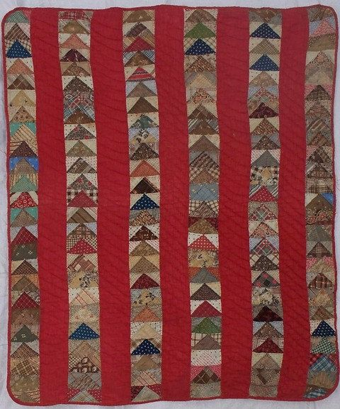 "Antique Flying Geese Crib Quilt, OH?, 31"" x 35 1/2"", c mid 19th C. Etsy, Betsy Lewis:"