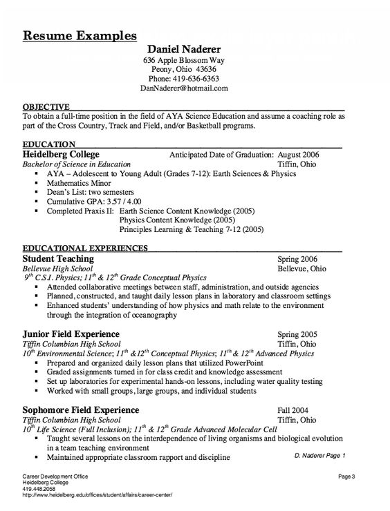 Four Types Of Resumes. Campus Ambassador Job Description Resume