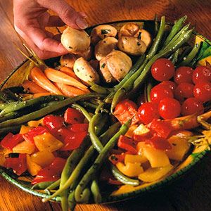 Tailor this side-dish recipe to coincide with vegetables of the season. During spring, include sugar snap peas and asparagus spears.