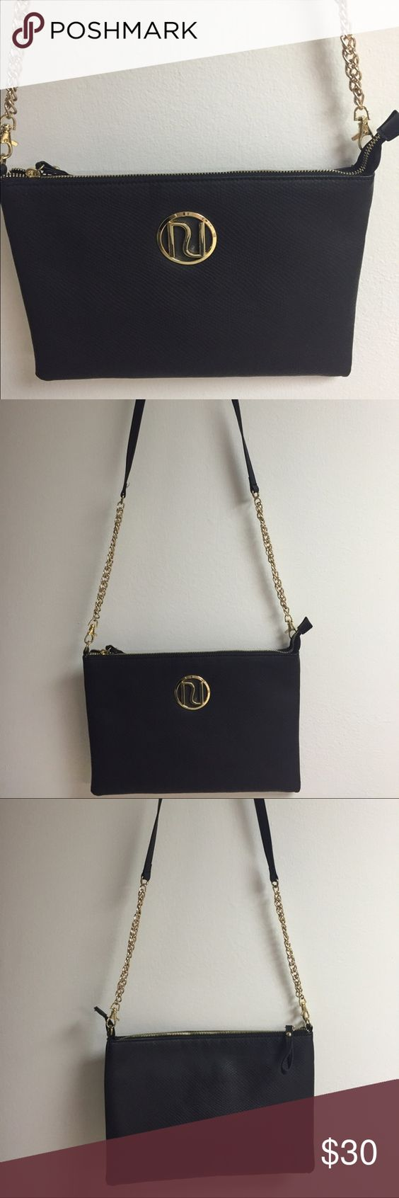 River Island (European) Crossbody Black Bag Purchased in Europe; the bag carried once ; black, soft material with gold hardware River Island Bags Crossbody Bags