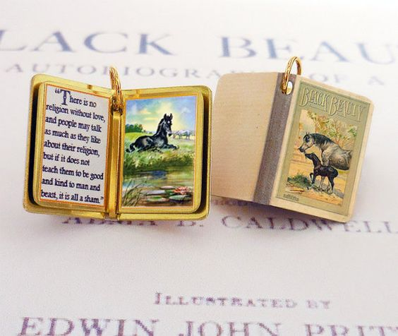 Black Beauty by Anna Sewell - Miniature Book Charm Quote Pendant- for charm bracelet or necklace. Custom available!