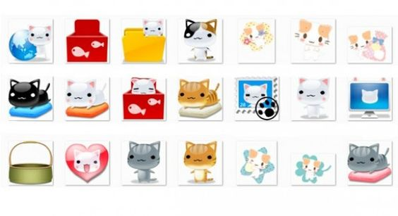 34 Cute Cartoon Cat Icons Set PNG - http://www.dawnbrushes.com/34-cute-cartoon-cat-icons-set-png/