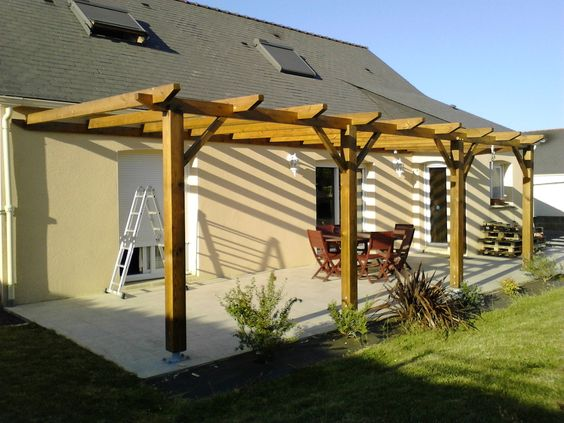 construction d 39 une pergola en bois instructions de bosch au jardin en ext rieur. Black Bedroom Furniture Sets. Home Design Ideas