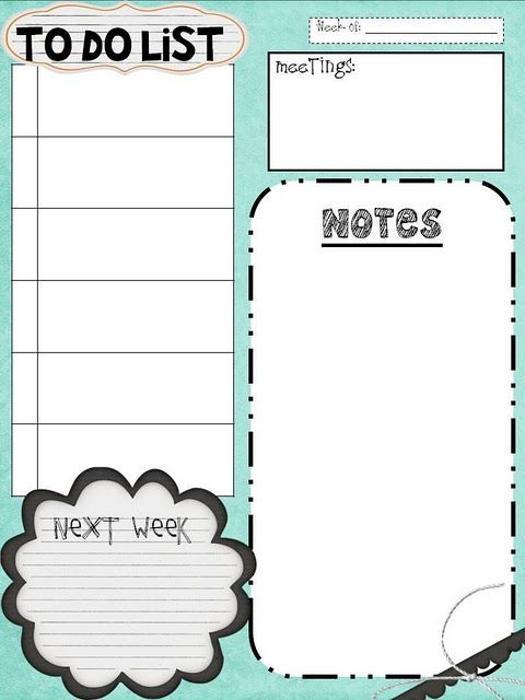 great little to do lists and other printable goodies organized pinterest keep in lesson. Black Bedroom Furniture Sets. Home Design Ideas