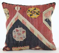 "VINTAGE TURKISH KILIM RUG HANDWOVEN DECORATIVE PILLOW CUSHION COVER 16"" x 16"""