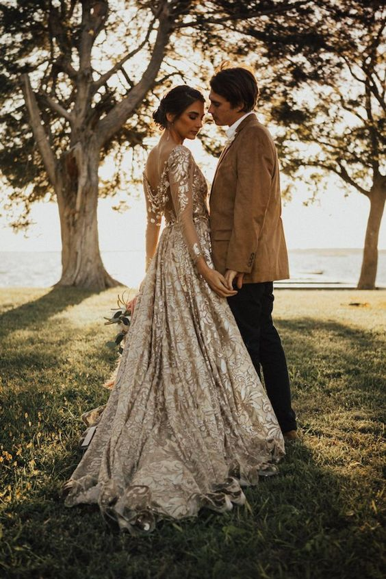 Gold and Ivory wedding dresses