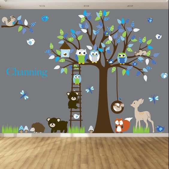 Diese Baumschule Baum Decal ist das perfekte Kunstwerk für Ihr Kind Raum oder Spielzimmer. Es kommt mit allen Blättern und Tieren gezeigt und man