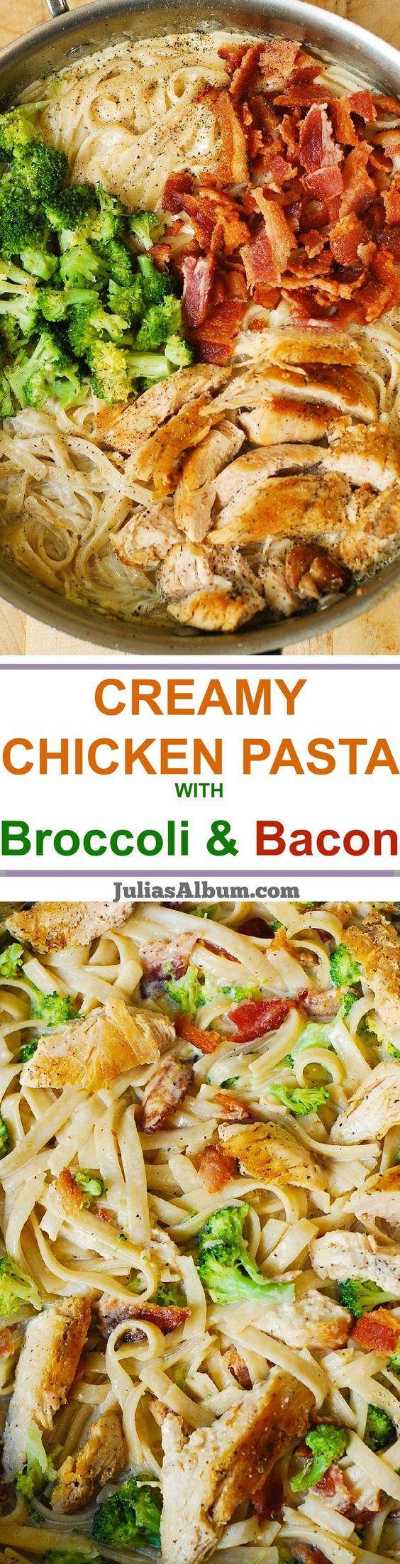 Broccoli chicken, Fettuccine pasta and Homemade alfredo on Pinterest